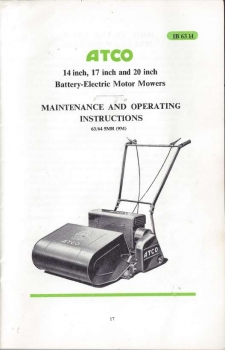 Atco Battery Electric 20&quot; (F23) - Owners Manual <b>(Online Delivery)</b>