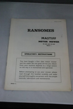"Ransomes Mastiff Motor Mower 30"" and 36"" Mark I Instructions"