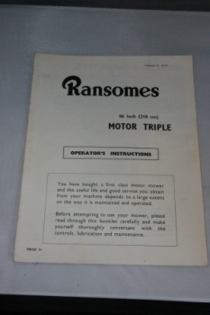 "Ransomes 86"" (218 cm) Motor Triple Operators Instructions"
