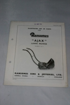 Ransomes Ajax Lawnmower Marks 1 & 2 Illustrated Part List